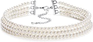 Round Imitation Pearl Choker Necklace Multi Strands Choker 20s Flapper Necklace Accessories for Gatsby Themed Party