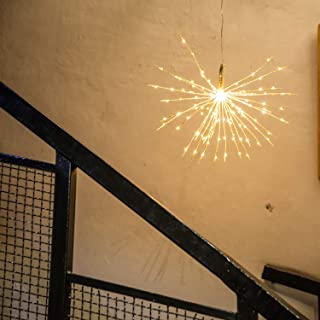 Bolylight 120 LED String Light Star Hanging Starburst Lights for Home Christmas Wedding Party Bedroom Roof Decoration Silver Warm White