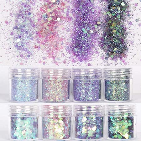 COKOHAPPY Holographic Chunky Glitter Total 80g Body Nail Face Cosmetic Hexagon Chunky Holographic Glitter for Resin Accessories (Mermaid)