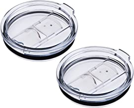 Docik Splash Resistant Spill Proof Lid for 20 Ounce Yeti Ozark Trail Tumbler Rambler and More Cup, 2 Pack
