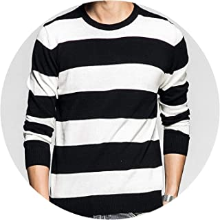Men Sweater Pullovers Cotton Knitted Sweater Jumpers Spring Winter Striped Knitwear