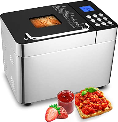 Stainless Steel Bread Machine Bread Maker, 2LB 25-in-1Digital Touch Panel+Programmable, 3 Loaf Sizes 3 Crust Colors, Reserve& Keep Warm Set