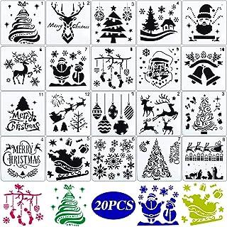 20pcs Plantillas Navideñas para Pintar Sténcil Plantillas Dibujos Navidad Pintura Plástico para Manualidades Decoración
