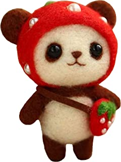 Cool Beans Boutique Wool Felting DIY Kit with Tools – Panda Bear with Red Strawberry Hat and Bag (with English Instructions) – Great Starter kit (Strawberry Panda) (Panda with Strawberry Costume)