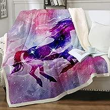 Sleepwish Galaxy Unicorn Blanket Purple Space Sherpa Fleece Blanket Pegasus Vivid Pattern Throw for Teen Girls Adults (Queen (90