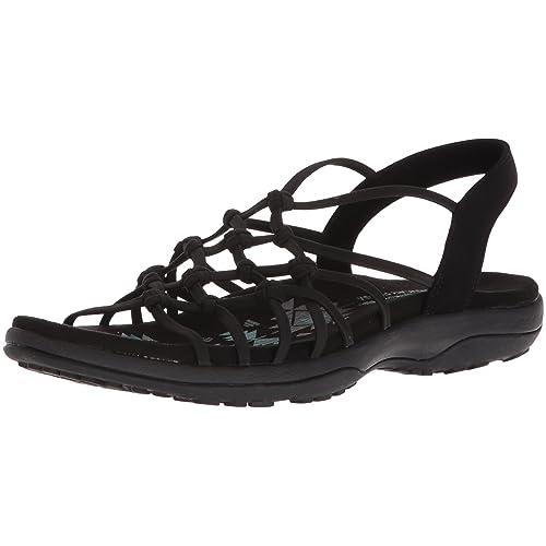 8b1f6a9cd73 Skechers Women s Reggae Slim-Forget Knotted Web Gore Open Toe Slingback  Sandal