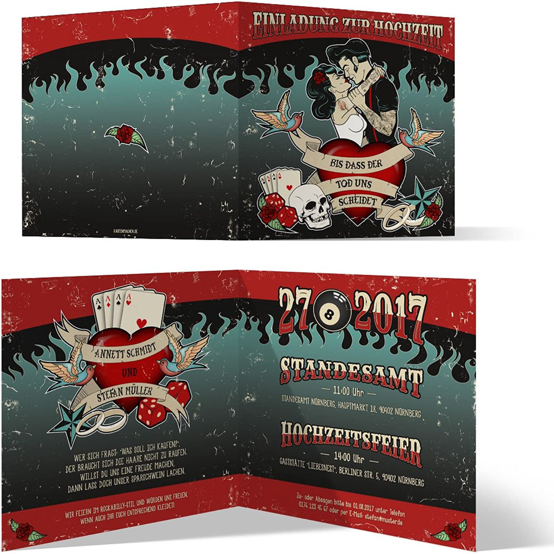 40 x Hochzeit Einladungskarten Rockabilly Hochzeitskarten Vintage Rock 1950er Klappkarte Klappkarte Klappkarte B077K7S3RW  | Verschiedene aktuelle Designs  5a753b