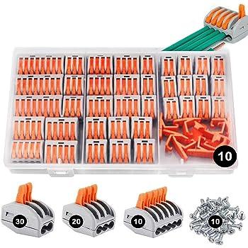 Conectores eléctricos rapidos 80 piezas, estancos Conectores de cableado de cables Kits de bloque de terminales con soportes fijos, Abrazaderas con palanca conexión eléctrica bloque 2/3/5 Puerto
