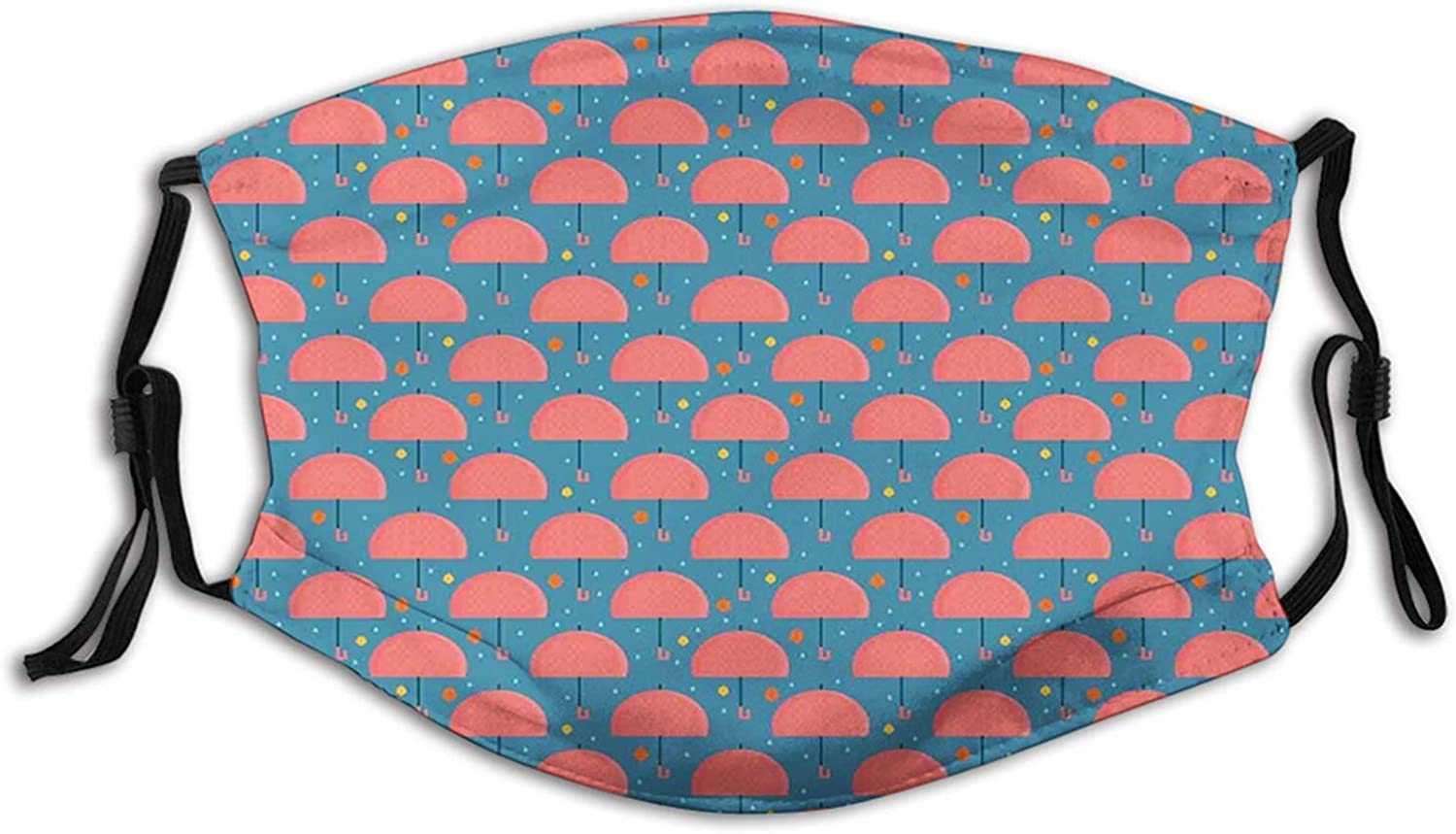 Mouth Face Mask Anti Breathable Absorb Sweat Reusable Masks for Adults Outdoor Umbrella, Autumn Foliage and Raindrops with Cartoon Style Parasol Pattern, Dark Coral Orange and Blue