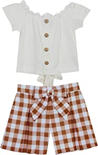 Rare Editions Girls Size 7-16 Ivory Top Brown Check Bow Shorts Set