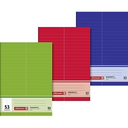 A5 Premium, 32 Blatt, liniert, mit Teilungslinie Brunnen 104348502 Vokabelheft 1 St/ück /& 104052424 Hefth/ülle//Heftumschlag A4, Folie, mit Namensschild rot