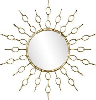 Furniture HotSpot Large Oversized Sunburst Mirror - Round Art Deco Design w/Gold Metal Frame