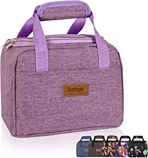Buringer Cute Insulated Lunch Bag Box Cooler Tote Bento Container with Front Pocket for Women/Men/School/Work/Picnic (Purple)