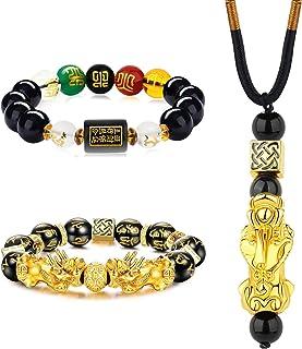 CASSIECA 2 pcs Bracciale Feng Shui Braccialetto Feng Shui di Obsidiana per Uomo Donna Feng Shui Beads Bracelet Feng Shui P...