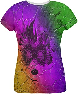 Mardi Gras Party Mask Distressed Grunge Flag All Over Womens T Shirt