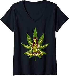 Womens Weed Leaf Shiva Zen Yoga Cannabis Marijuana Meditation V-Neck T-Shirt