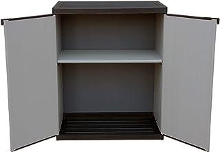 Adventa Armoire Basse en résine avec étagères 2 Portes (intérieur/extérieur), Gris Noir, 68 x 39,5 x 85 cm