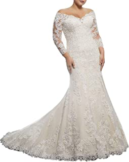 Wedding Dress for Bride Plus Size Mermaid Bridal Gown with Sleeves Lace Wedding Gowns