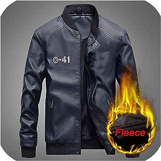 New Motorcycle Leather Jacket Windbreaker Outwear Warm Pu Baseball Jackets Size S 4XL