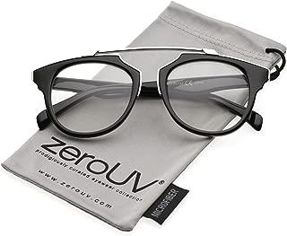zeroUV - Modern Metal Brow Bar Horn Rimmed Round Clear Lens Aviator Eyeglasses 50mm