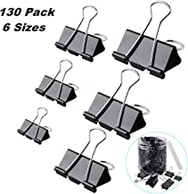 130 Pcs Assorted Sizes Binder Clips, Big Paper Clamps Metal Fold Back Clips for Office, School and Home Supplies, Black