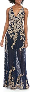 Xscape Evenings Women's Sleeveless Long Lace Embroidered Gown, Navy/Gold, 6