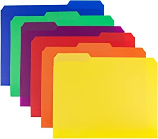Dunwell Plastic File Folder Colored - (6 Pack, 6 Assorted), 3 Tab File Folders Letter Size, Colorful Filing Folders, More ...