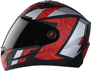 Steelbird SBA-1 Cesar Full Face Helmet in Matt Finish with Smoke Visor (Large 600 MM, Matt Black/Dark Red)