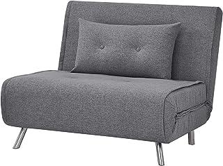 AmazonBasics - Sofá cama,  100 x 91 x 91, Gris oscuro
