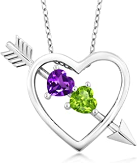 Purple Amethyst and Green Peridot 925 Sterling Silver Heart & Arrow Women's Pendant Necklace 0.90 Ct with 18 Inch Silver Chain
