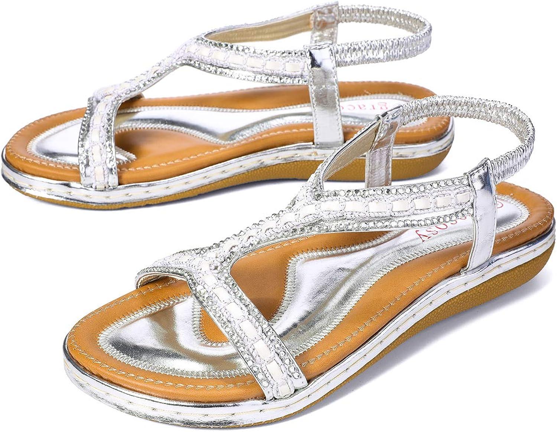 Gracosy Flat Sandals for Women, Summer Flat Wedding Rhinestone Beaded Flip Flops Bohemian Thong Slip on Sliver 8 M US