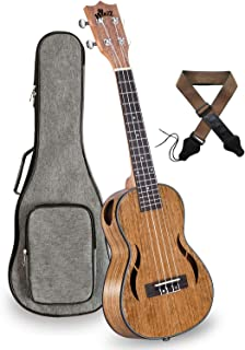 23 Inches Concert Walnut Ukulele Side Sound Hole Arched Back with Gig Bag, Strap and Chord Card