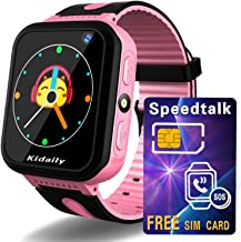 Kids Smart Watch GPS Tracker [ SIM Card Included ] - Positioning Watch Phone for Boys Girls - Cellphone Watch with Games SOS Call Flashlight Gizmo Watch Gifts for Holiday Christmas Birthday - Pink