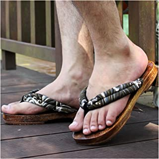 ZCPCS Zapatos de Madera de Fondo japonés de Madera japonés Cos japonés Zapatillas de Madera Pareja Mujer Verano Fondo Huma...
