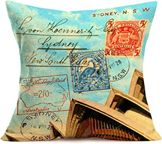 Doitely Australia Vintage SYDENY.N.S.W. Postage Stamp Design Throw Pillow Covers with Opera House Backdrop Decorative Pillow Covers Cotton Linen Square Pillow Case Home Sofa 18