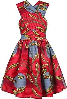 Women Sexy African Print Multiway V-Neck Backless Slit Mini Wrap Dress