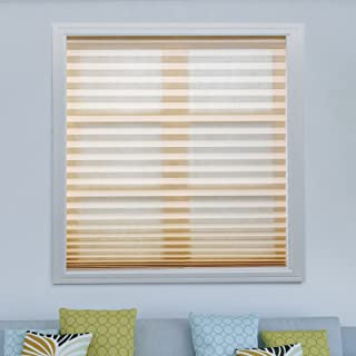 Acholo 3 Pack Light Filtering Pleated Fabric Shades Blinds for Windows Easy to Install, Trim-at-Home, Beige, 36