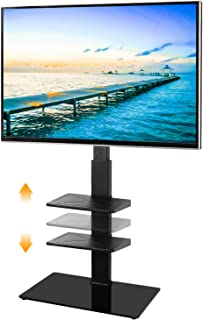 5Rcom Swivel Floor TV Stand with 3 Shelves for Most 32 37 42 47 50 55 60 65 inches Plasma LCD LED OLED Flat Screen or Curved TVs,Cable Management and Height Adjustable, Black TV Mount Stand TF2005