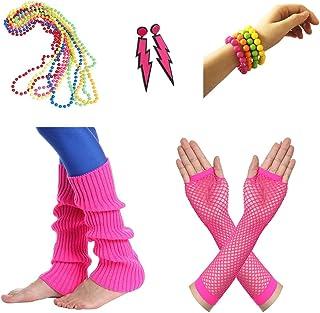 Amaza 80er Damen Neon Beinstulpen Halsketten Fischnetz Handschuhe Ohrringe Armbänder Verkleiden Kostüme (mehrfarbig)