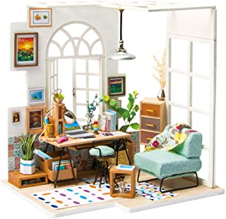 (Office) - Rolife DIY Wooden Miniature Dollhouse Kit with Led Light-Woodcraft Construction Kit-3d Wooden Puzzle Model Buil...