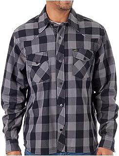 Lucky 13 Black-Grey Shocker Flannel Long Sleeved Workshirt (Small, Grey)