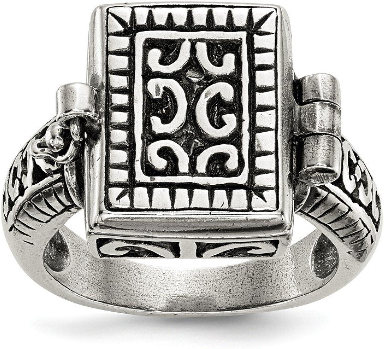 925 Sterling Silver Antique Locket Ring
