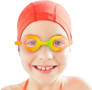 Colorful Kids Goggles with Case | Children's Swimming Eyewear, UV Protection and Anti-fog Lenses for Boys and Girls | Polycarbonate Lenses, Silicone Strap and Gasket | Pool and Beach