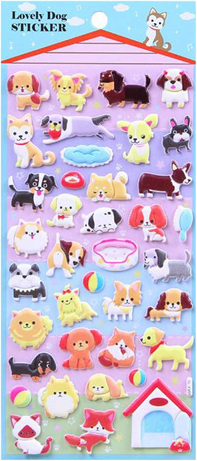 Cartoon Bubble Stickers are Suitable for All Kinds of Packaging or Reward Children. D JANSONG 3D Stickers are Suitable for Children with More Than 50 Dogs