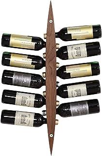 XHCP Organisation de Rangement de Cuisine Casiers à vin muraux Porte-Bouteille Barre en Bois Vintage - Étagères flottantes...