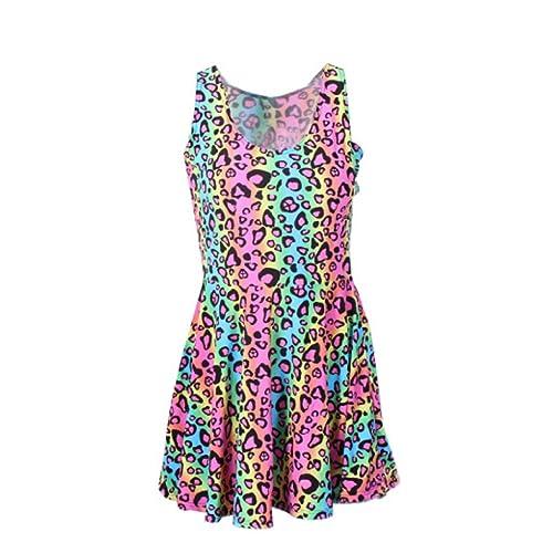 9fa2cddc59 Neon Rainbow Leopard Cheetah Print Knee Length Mini Dress Rave Party Fun