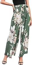 BerryGo Women's Boho High Waist Wide Leg Pants Floral Print Summer Beach Pants