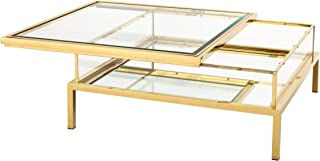 Gold Sliding TOP Coffee Table | EICHHOLTZ Harvey | Modern Luxury Contemporary Elegant Square Mirrored Glass Center Table