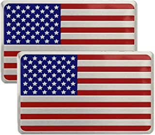 """Cootack US American Metal Flag Decal Sticker - Emblem Made from Aluminum Alloy - Perfect for Any Vehicle, Truck, Car, Motorcycle, RV, Scooter, or SUV 3.12"""" x 2"""" Set of 2"""