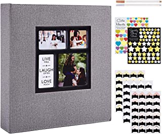 Benjia Album Photo Traditionnel Adhesif, Grand Format Vierge Autoadhesif Tissu avec Autocollant Stylo pour 10x15 11.5x15 1...